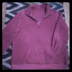 Boutique Rose Sherpa 1/4 Zip Sweatshirt Sz XL